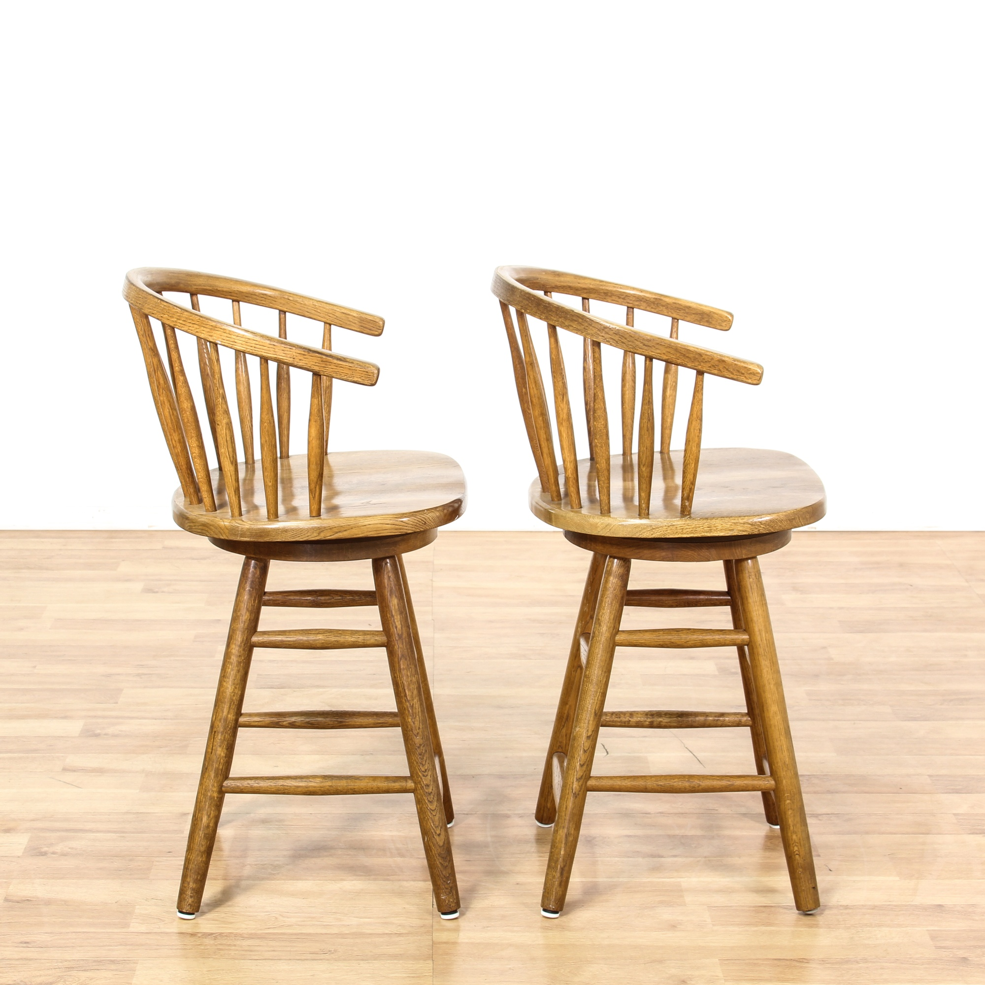 Pair Of Barrel Back Swivel Bar Stools Loveseat Vintage