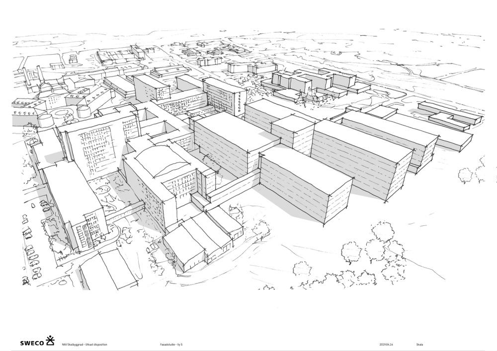 Illustration: Sweco Architects. Nya Akutsjukhuset Västerås. Tecknat Fågelperspektiv