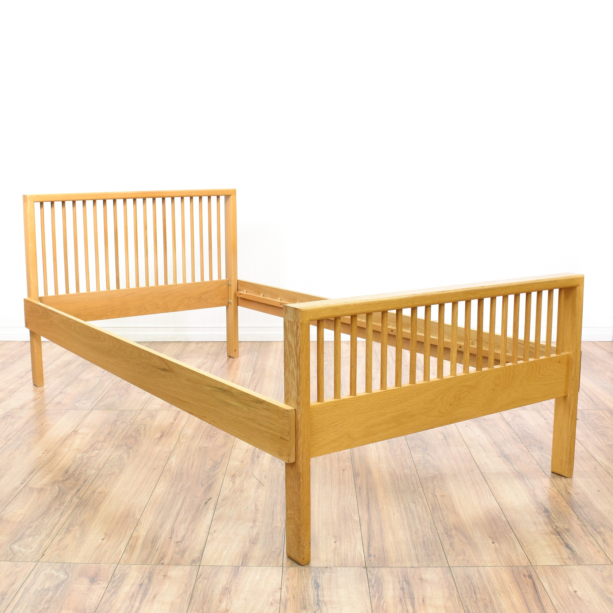 Mid century modern style light wood twin bed loveseat for Mid century style bed