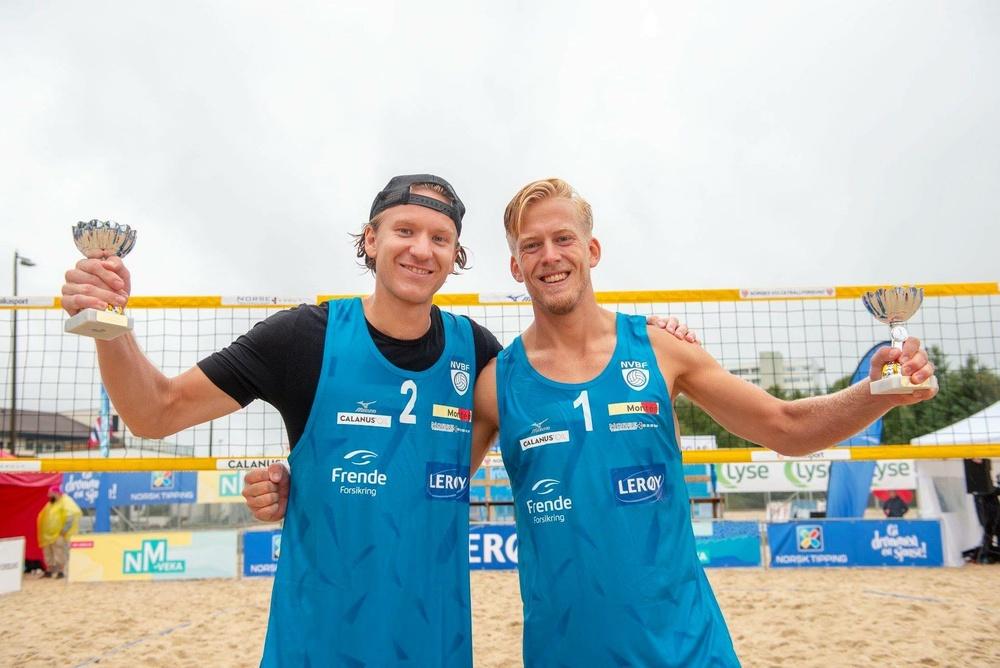 Svein Solhaug och Lars Retterholt efter segern i norska mästerskapet 2018. Nu kommer de till Beach Royals i Göteborg.