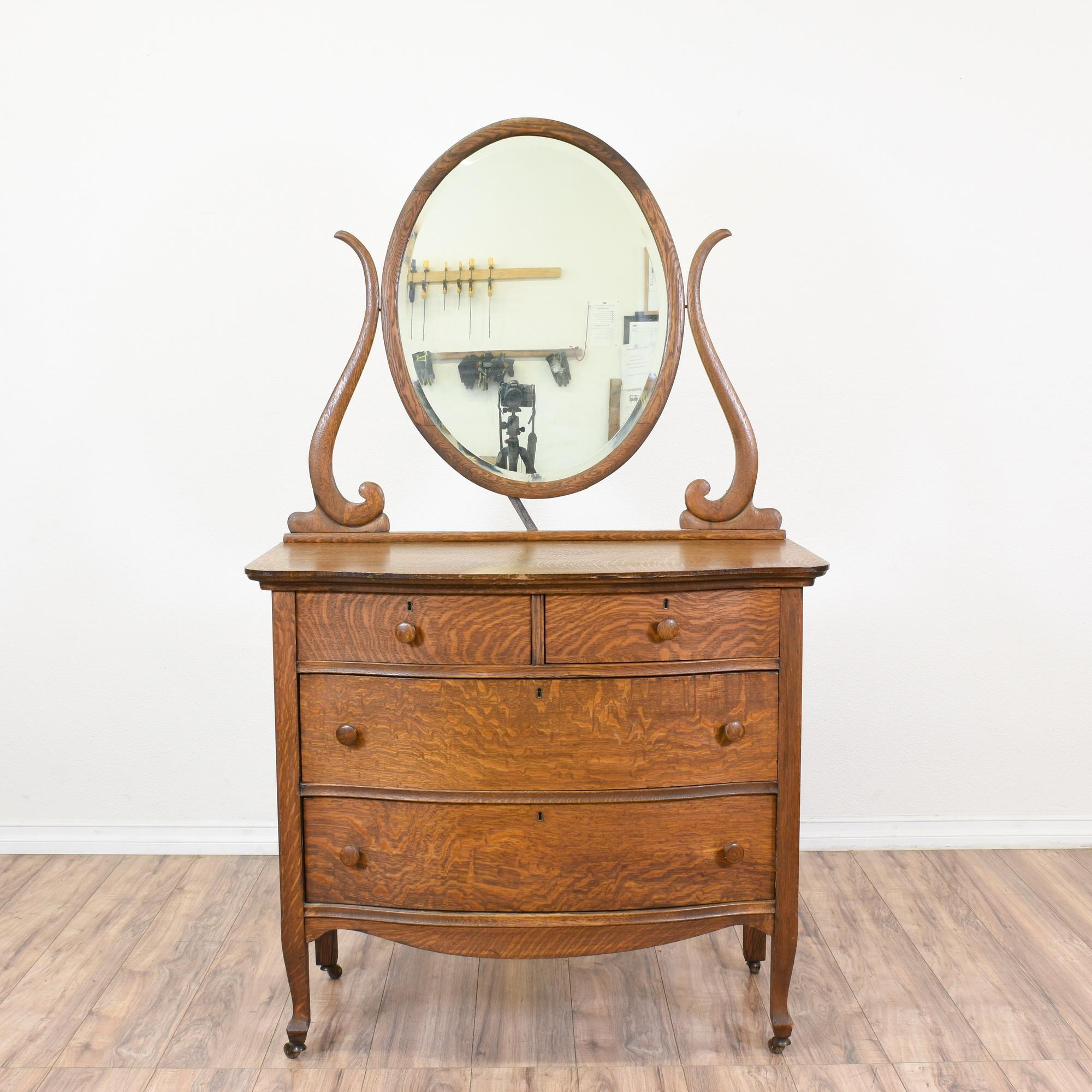 traditional antique wood dresser w mirror loveseat vintage furniture san diego los angeles. Black Bedroom Furniture Sets. Home Design Ideas