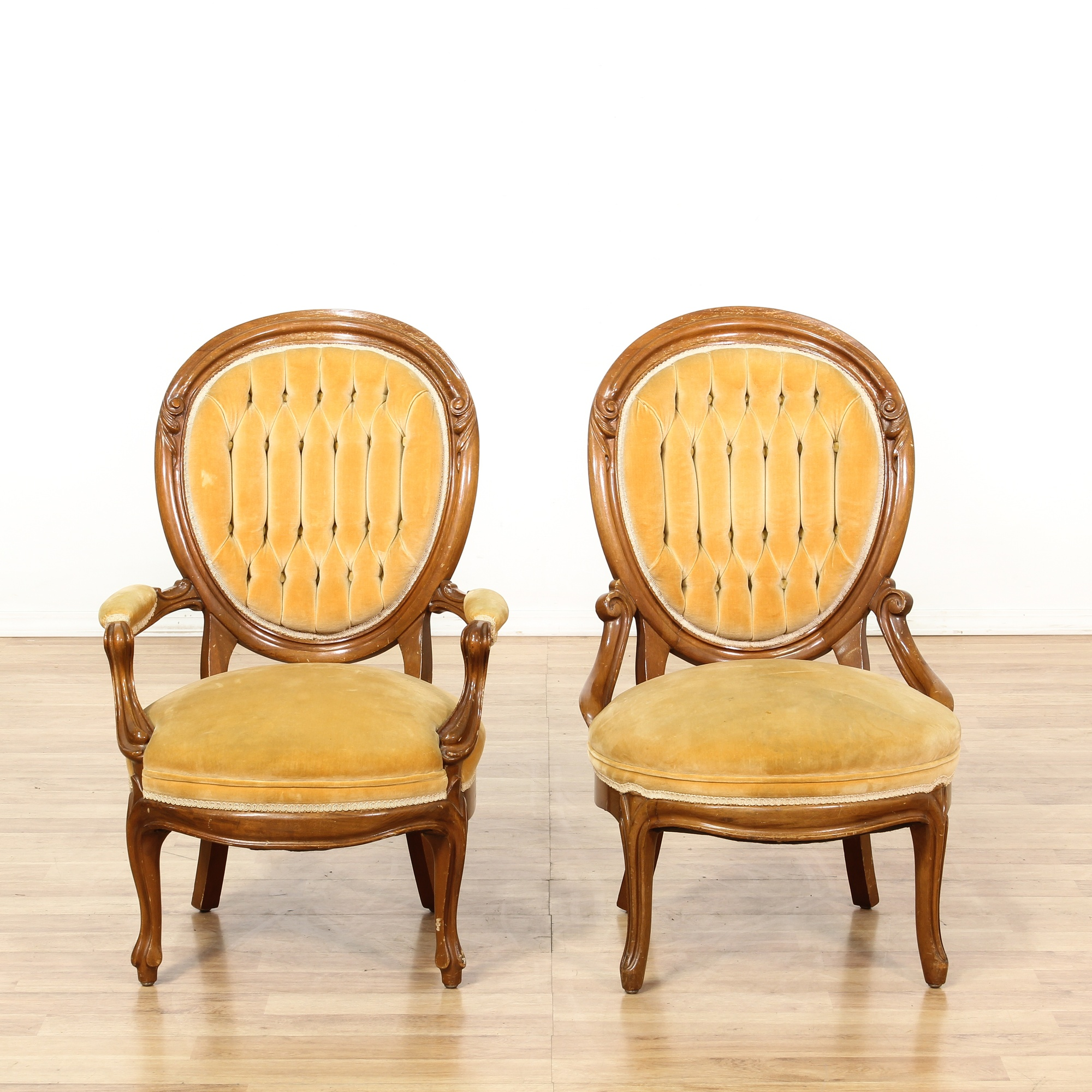Pair of tufted yellow victorian dining chairs loveseat for Victorian furniture los angeles