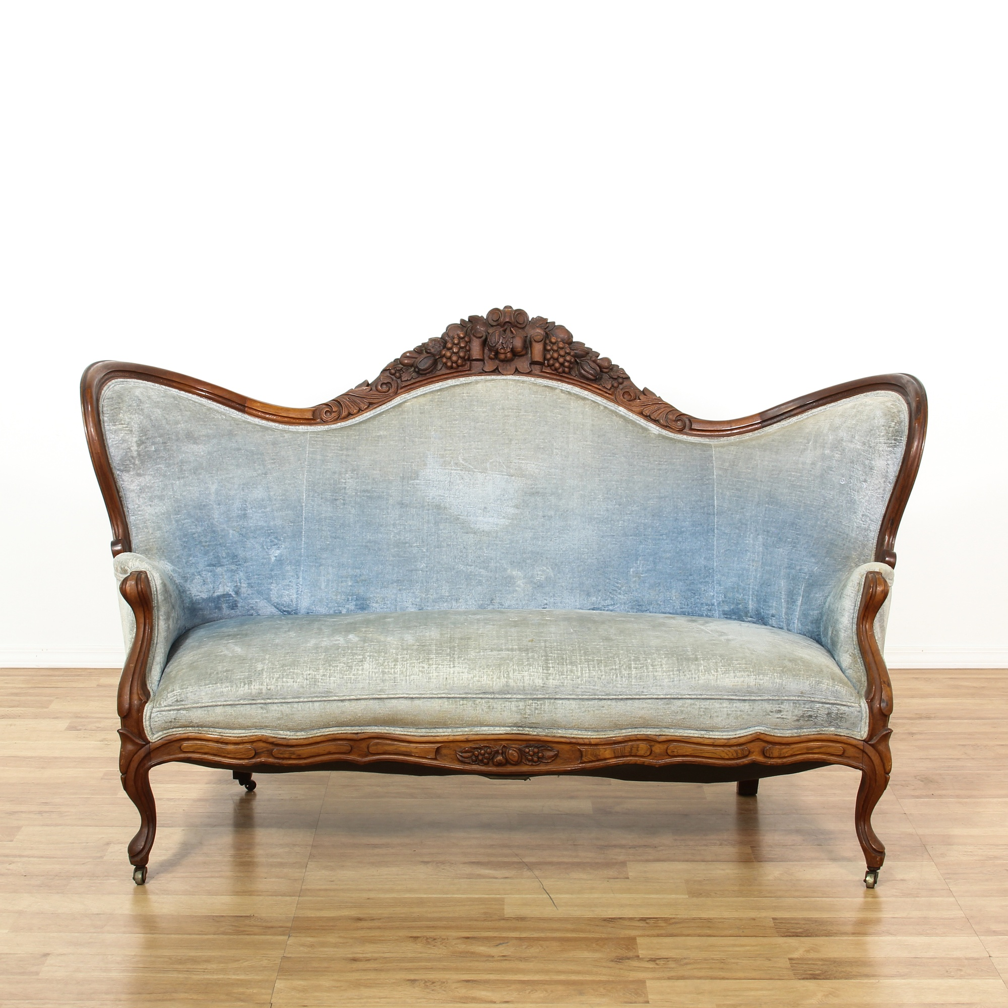 Belter victorian style mahogany blue velvet settee for Victorian furniture los angeles