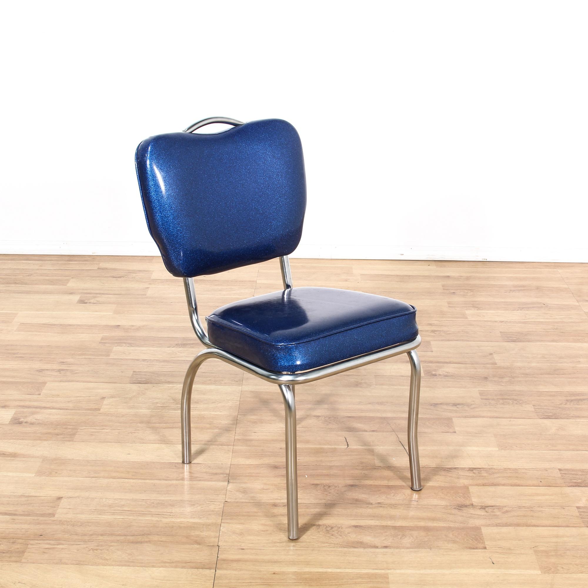 Retro Chrome Dinette Set W 4 Blue Vinyl Chairs Loveseat