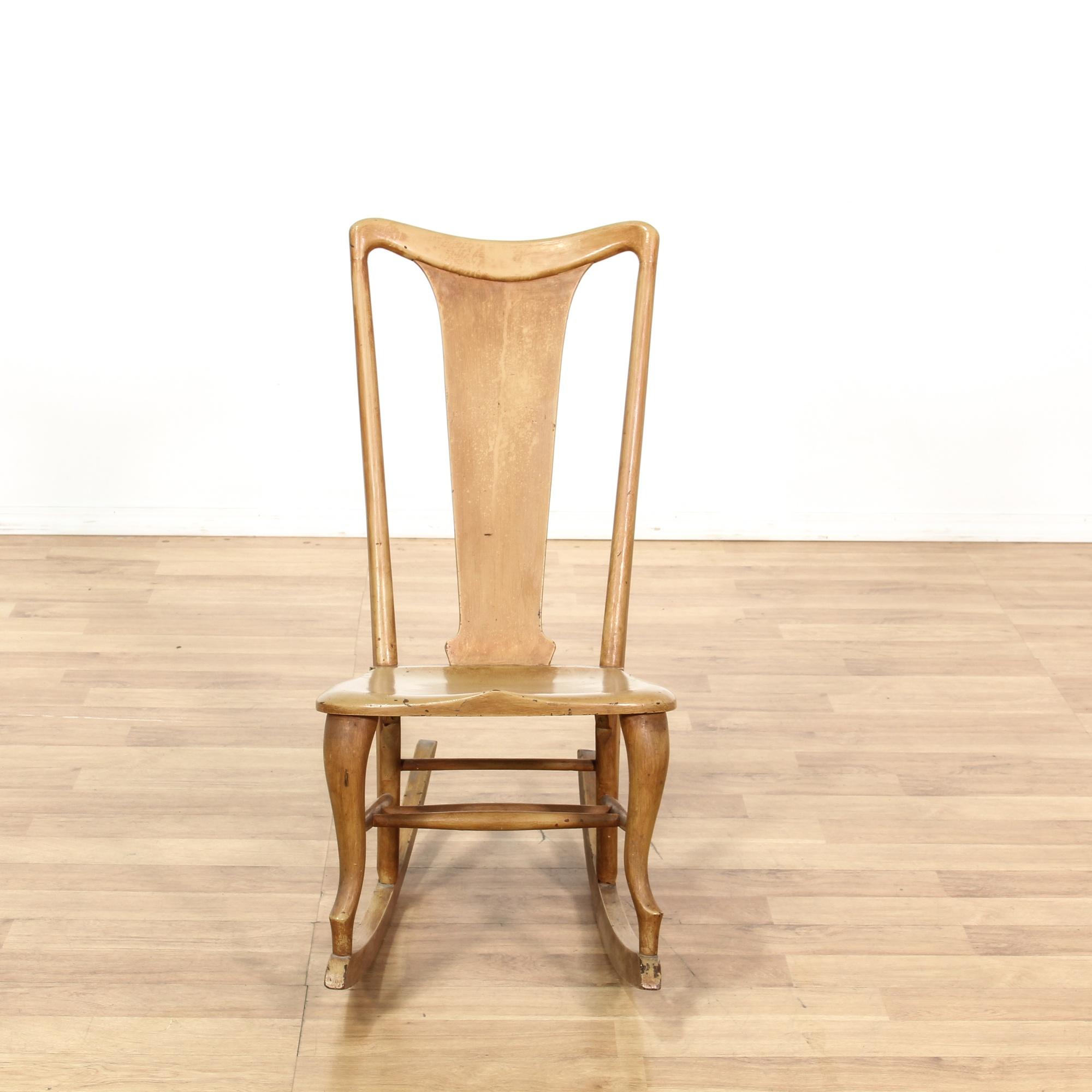 Retro Maple Tall Back Rocking Chair Loveseat Vintage