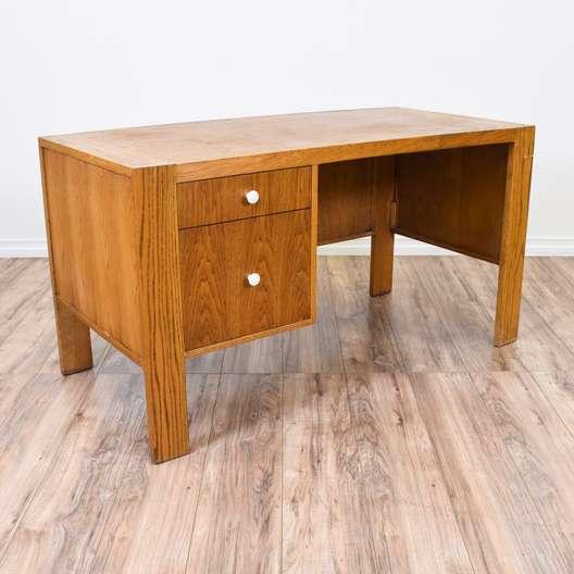 Simple Light Oak 2 Drawer Desk