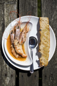 Giant Argentinian red prawns with garlic and lemon