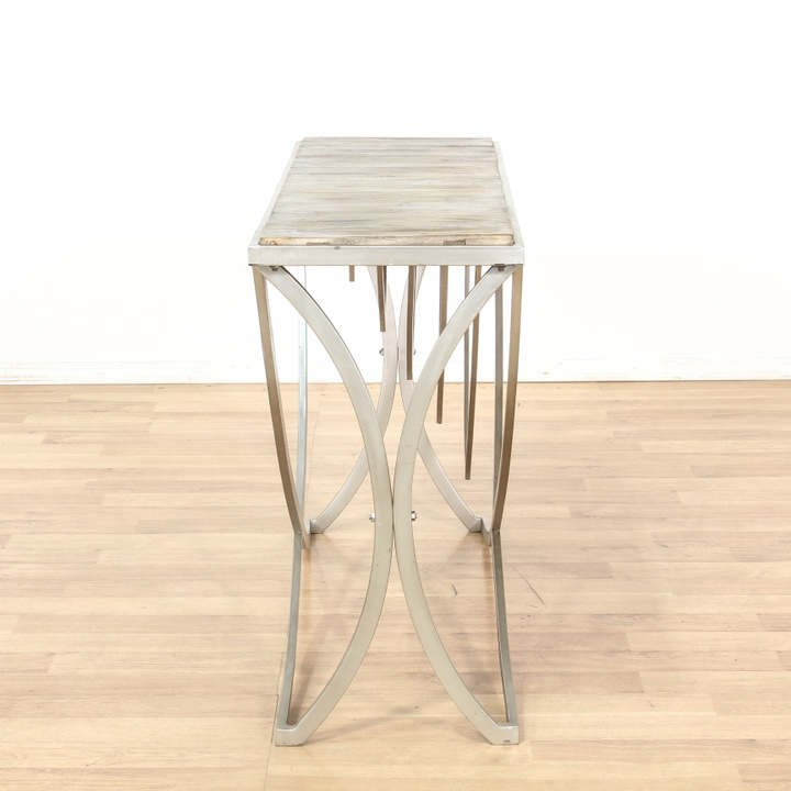 Modern Metal Base Reclaimed Wood Top Console Table