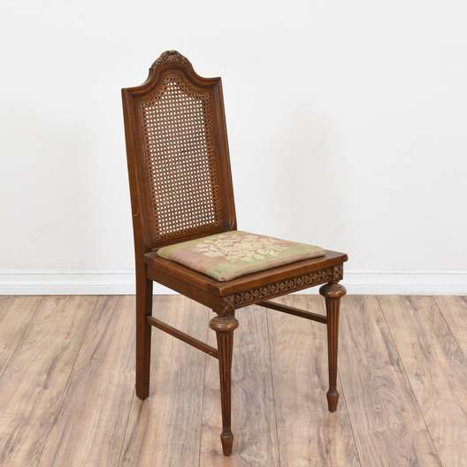 Cane Back Floral Seat Chair
