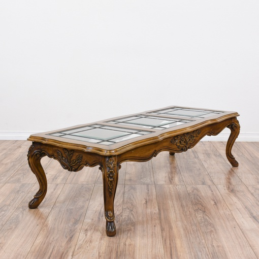 French Provincial Oval Coffee Table: Carved French Provincial Glass Top Coffee Table