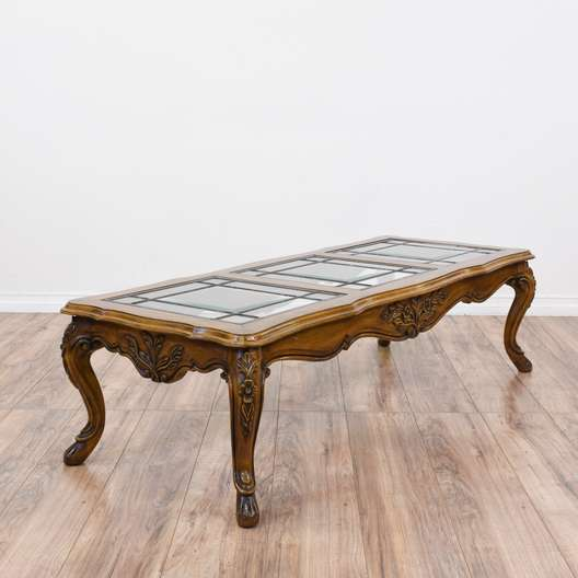 French Provincial Coffee Table Set: Vintage French Provincial Marble Top Coffee Table