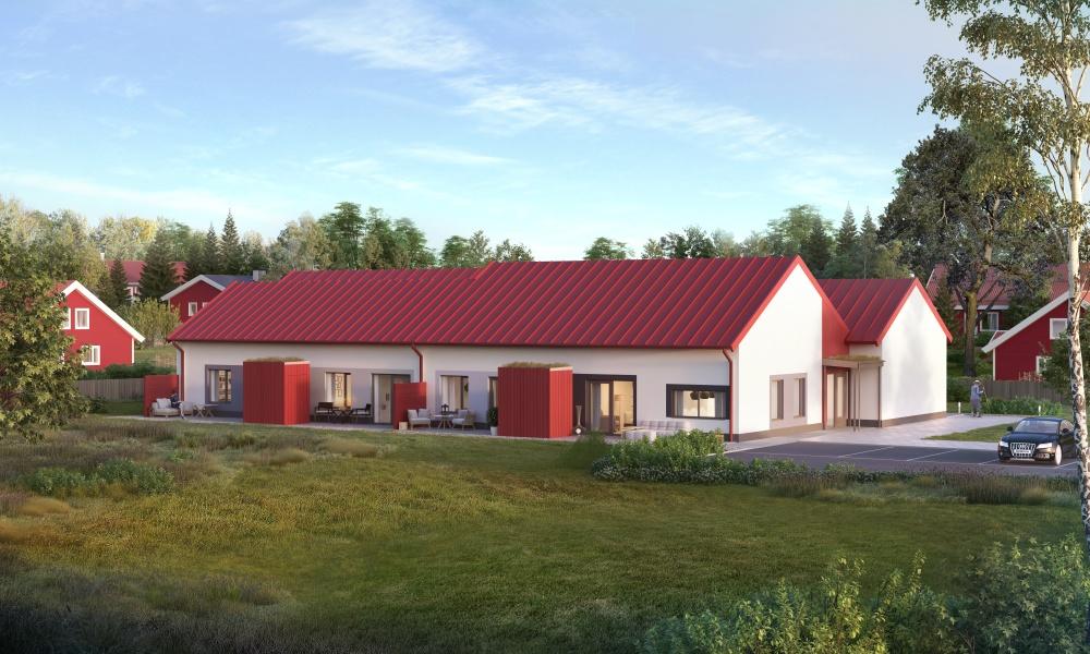 Variant av vårt 1-plan med brutet tak. Röda detaljer.