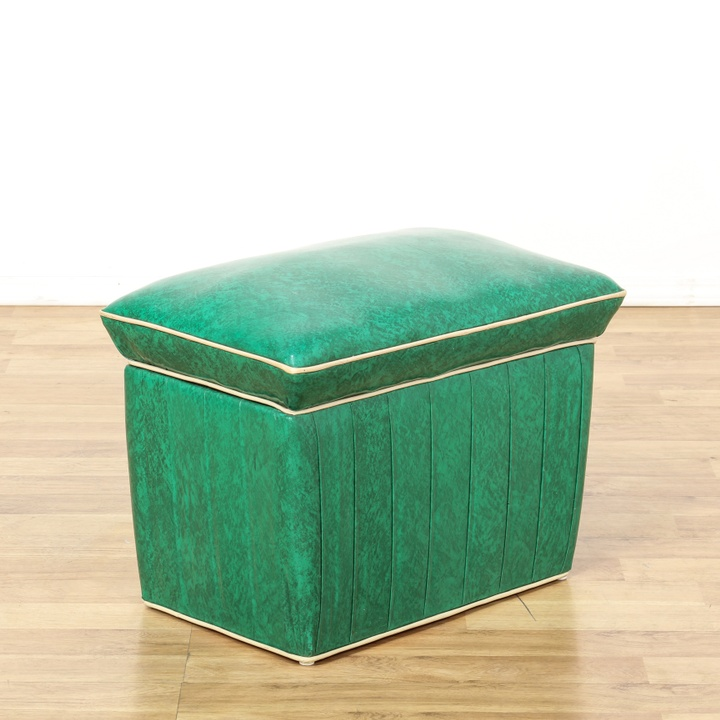 Ottomans Ellis Dark Grey Velvet Finish Storage Chest: Retro Green Vinyl Upholstered Storage Ottoman