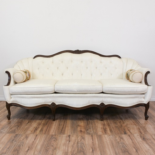 Antique Victorian Sofa Styles: White Moire Upholstered French Victorian Sofa