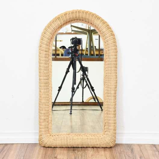 Round Top Woven Wicker Mirror