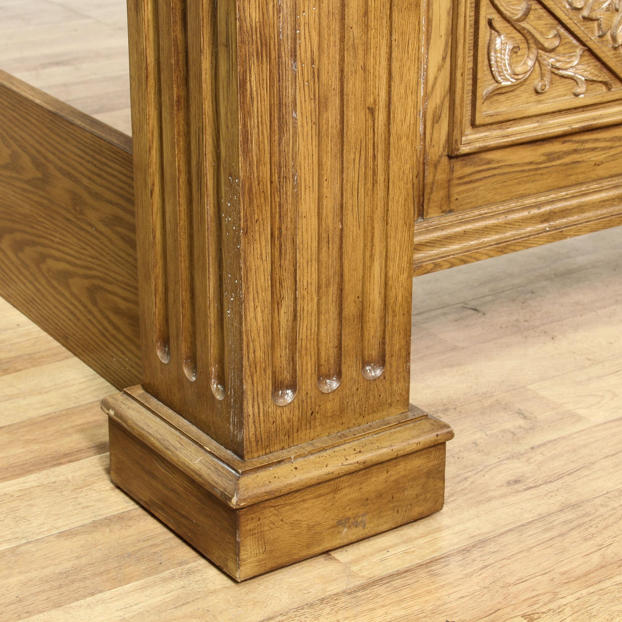 queen sized carved light oak bed frame loveseat vintage furniture san diego los angeles. Black Bedroom Furniture Sets. Home Design Ideas