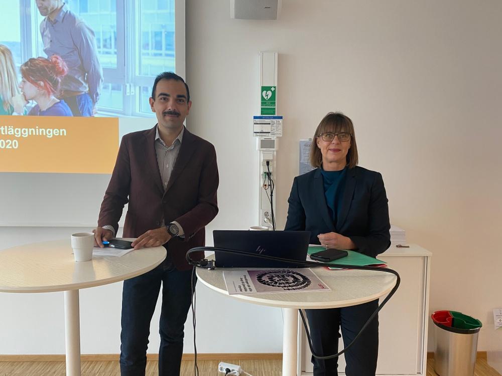Arman Teimouri och Anna Lundmark Lundbladh under pressträffen för presentation av Almis styrelsekartläggning i Värmland