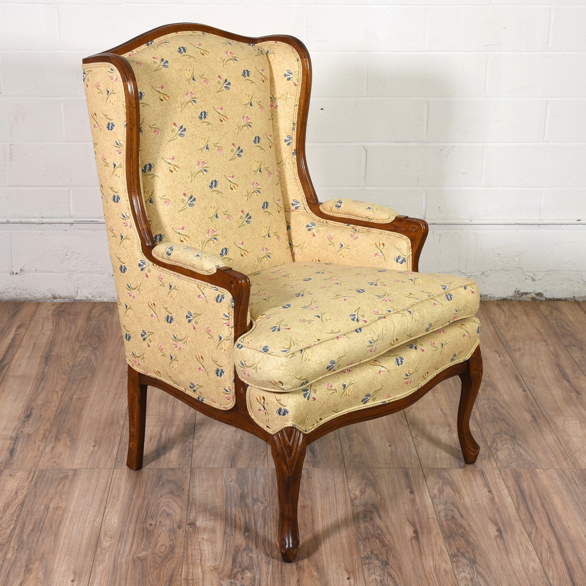 Upholstered Wingback Chair In Yellow Floral Fabric | Loveseat Vintage  Furniture San Diego