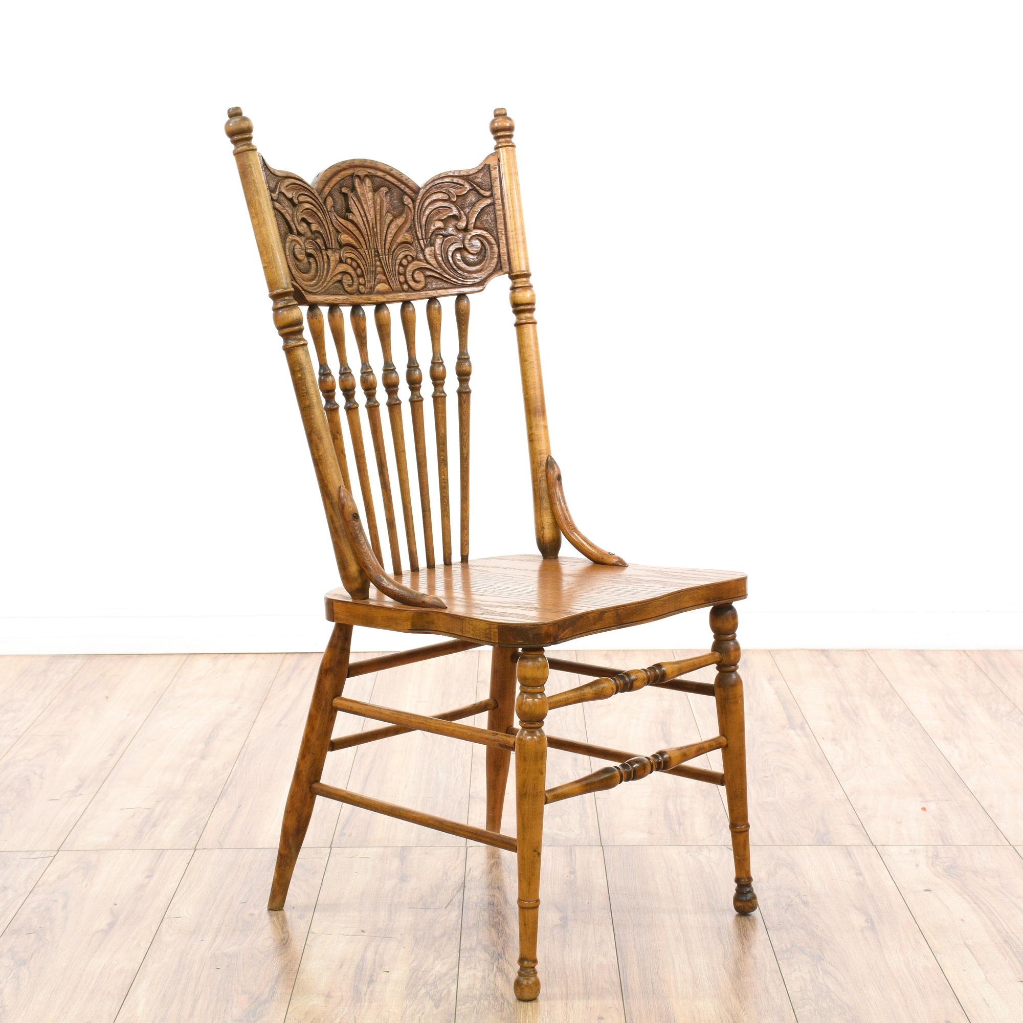 Pressed Back Dining Chairs ~ Set of spindle press back oak dining chairs loveseat