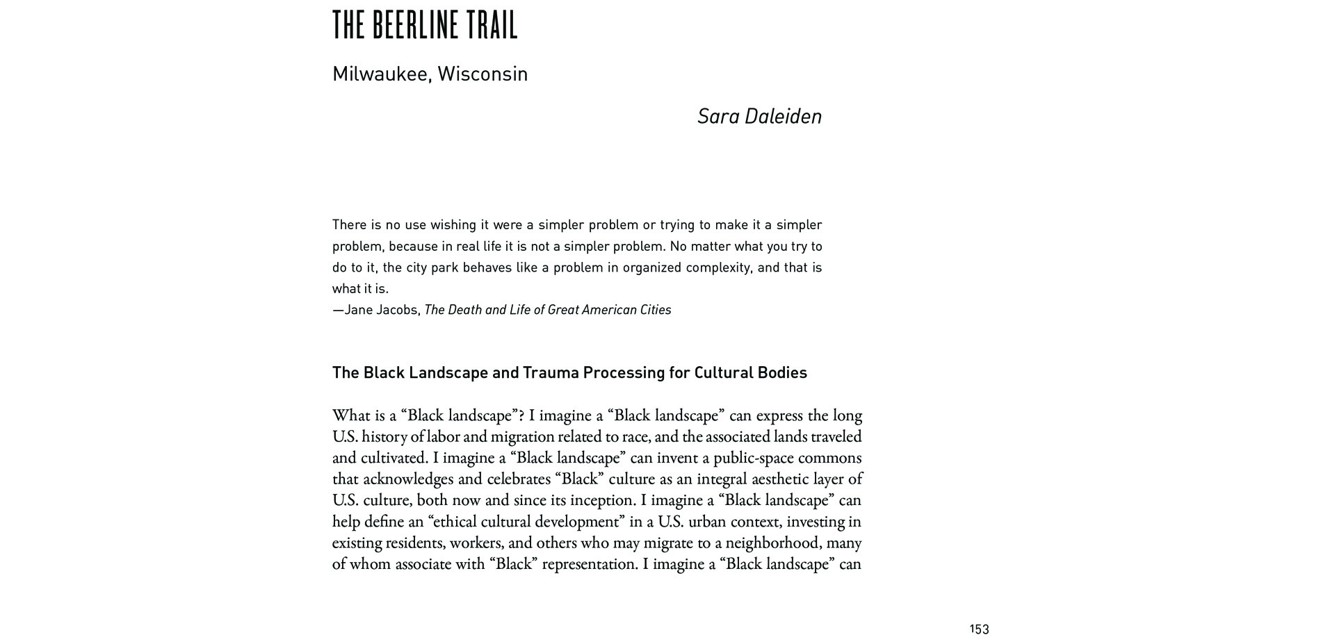 Black Landscapes Matter, The Beerline Trail: Milwaukee, Wisconsin (pg. 153)