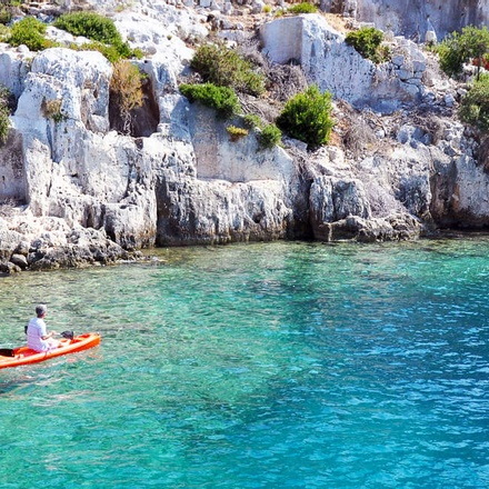 Kayaking in crystal clear water