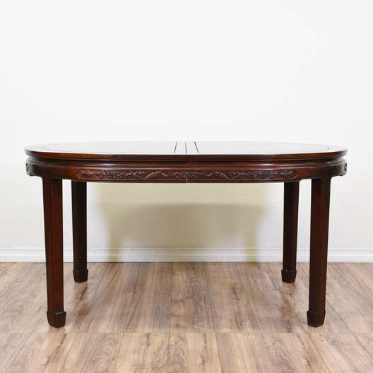 Asian Style Carved Rosewood Dining Table w/ Leaves