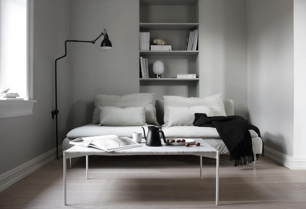 Bemz cover for Söderhamn 3 seat section sofa, fabric: Malmen Velvet Sand Beige. Styling + photo: Elisabeth Heier.
