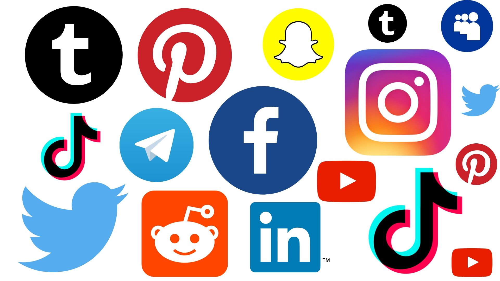 A collection of social media app logos, including Snapchat, Facebook, and Instagram.