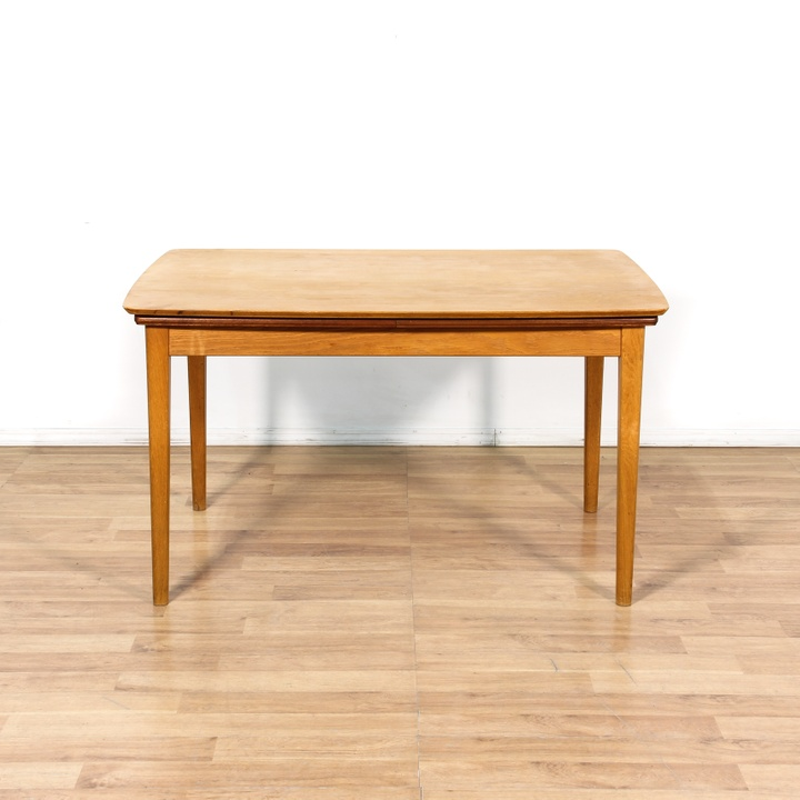 Expandable blonde danish modern dining table loveseat for Danish modern la