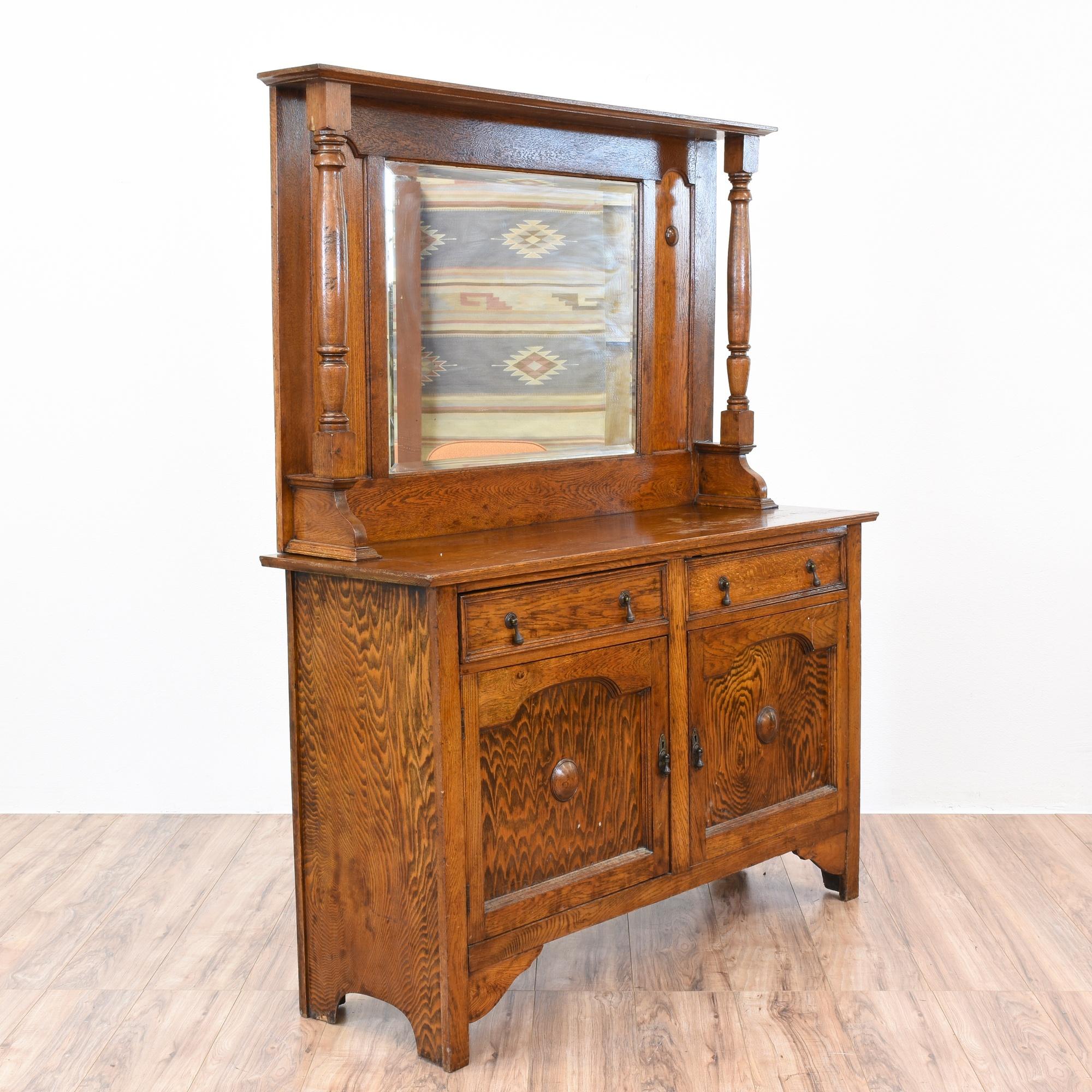 Antique Oak Sideboard Buffet W Mirror Loveseat Vintage
