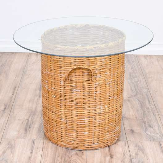 Woven Wicker Glass Top End Table