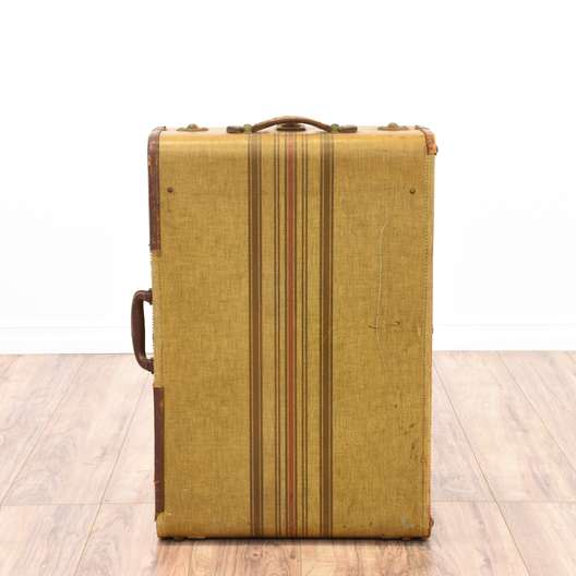 Vintage Mustard Yellow Travel Trunk Suitcase