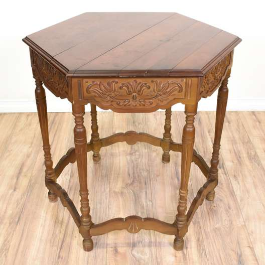 Carved Hexagon Side Table