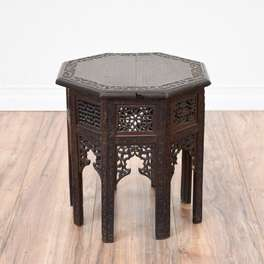 Small Carved Moroccan Folding End Table