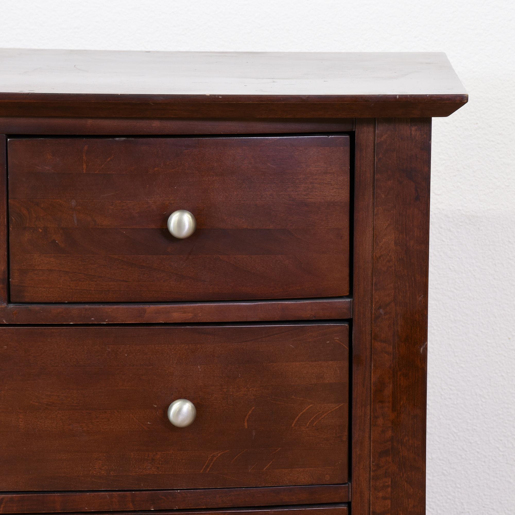 Contemporary Dark Cherry 10 Drawer Dresser Loveseat