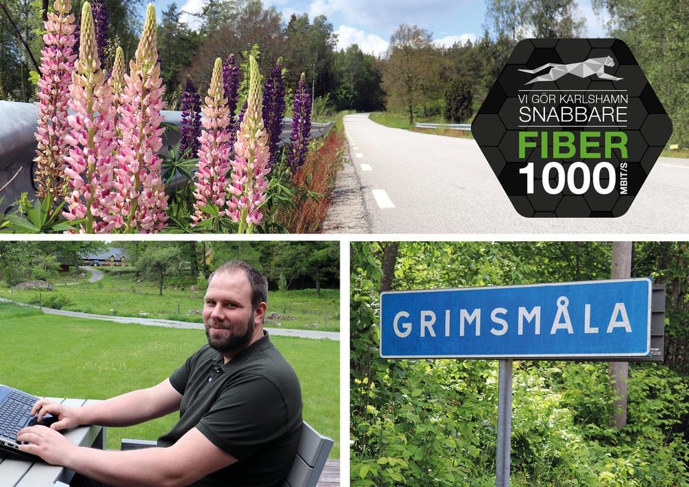I Grimsmålaområdet valde 75 procent av hushållen att teckna fiberavtal när Karlshamn Energi gick ut med intresseförfrågningar och Anton Berggren är en av de som nappade.
