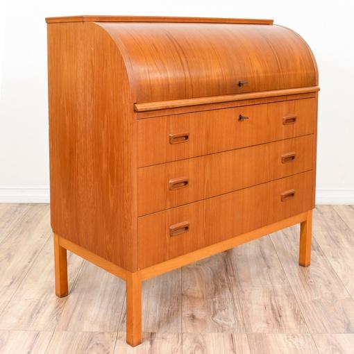 Danish Modern Teak Roll Top Desk Dresser Loveseat