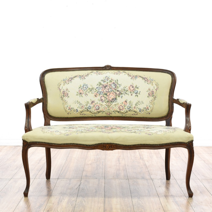 Calico Corners Colorful Floral Striped Loveseat Loveseat Vintage Furniture San Diego