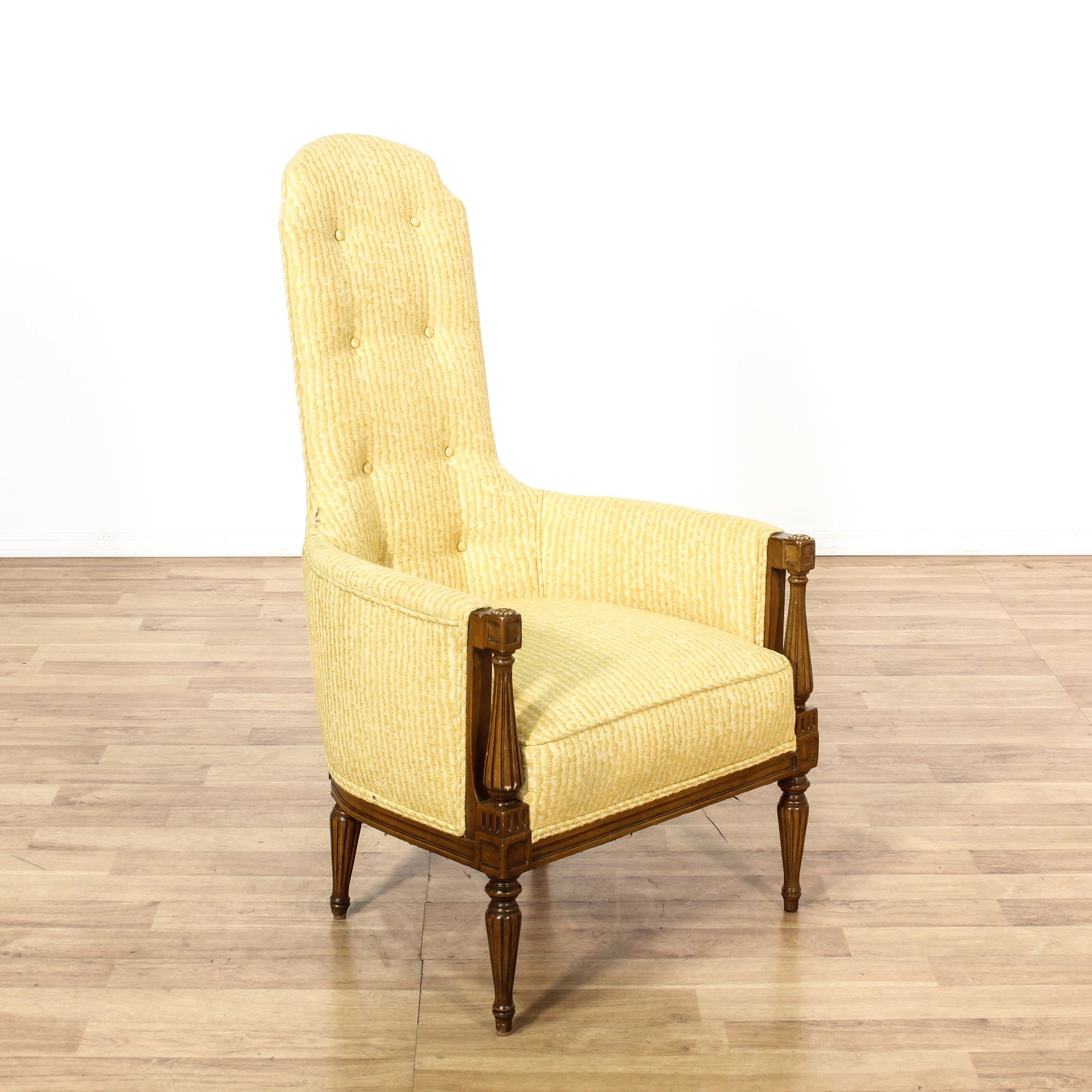 High Narrow Back Yellow Upholstered Armchair | Loveseat ...