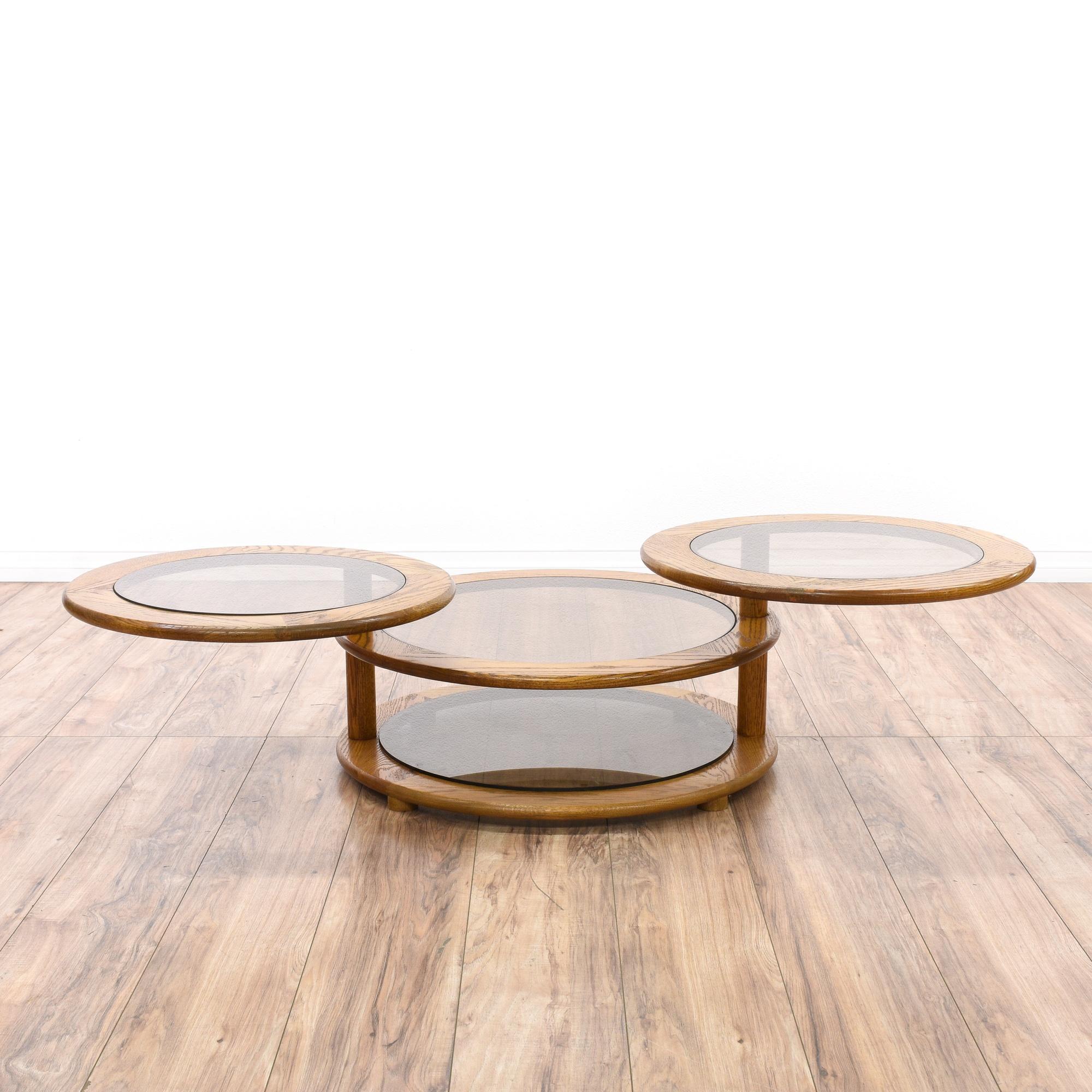 Coffee Table With Swivel: Glass & Oak Round Swivel Coffee Table