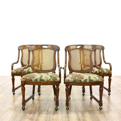 Set Of 4 Cane Back Rolling Game Dining Chairs Loveseat