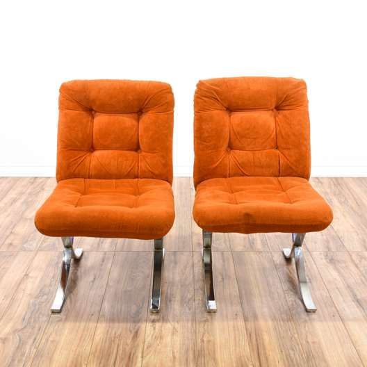 Pair of Mid Century Modern Orange Velvet Chairs 2