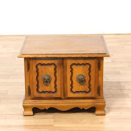 Maple Square 2 Door End Table Cabinet Loveseat Vintage Furniture