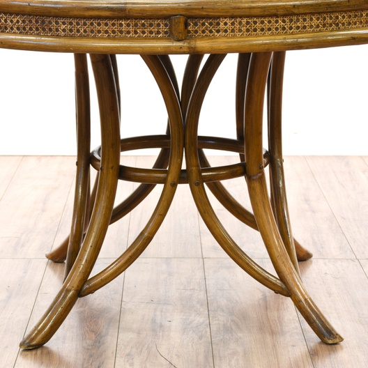 Dining Room Furniture San Diego: Tropical Round Rattan & Cane Dining Table