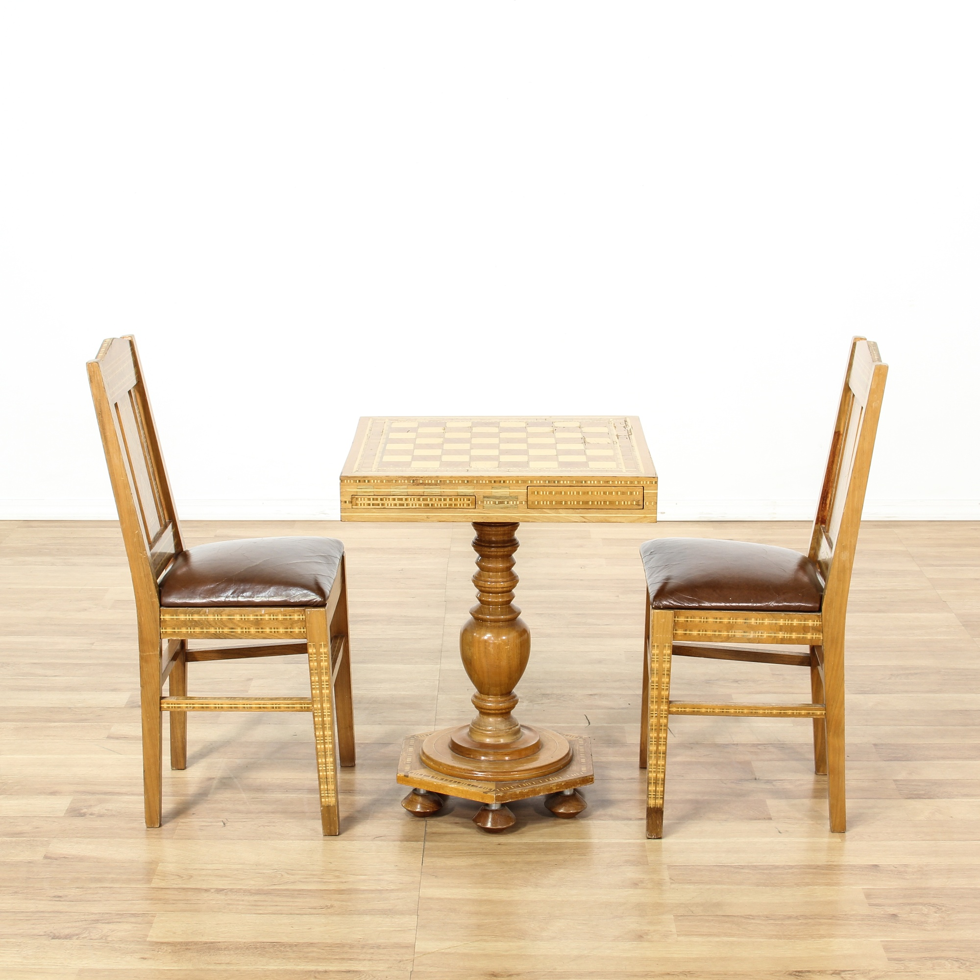 Inlaid Wood Marquetry Chess Table Chairs Loveseat