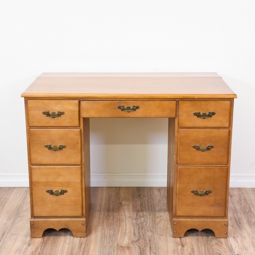 light maple 7 drawer kneehole desk loveseat vintage 15850 | convert w 510 h 510 fit crop rotate exif
