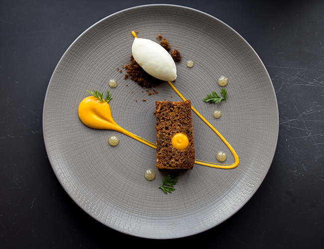 Carrot cake with yuzu and local yoghurt by Andy Tabberner at the Bull at Beaumaris