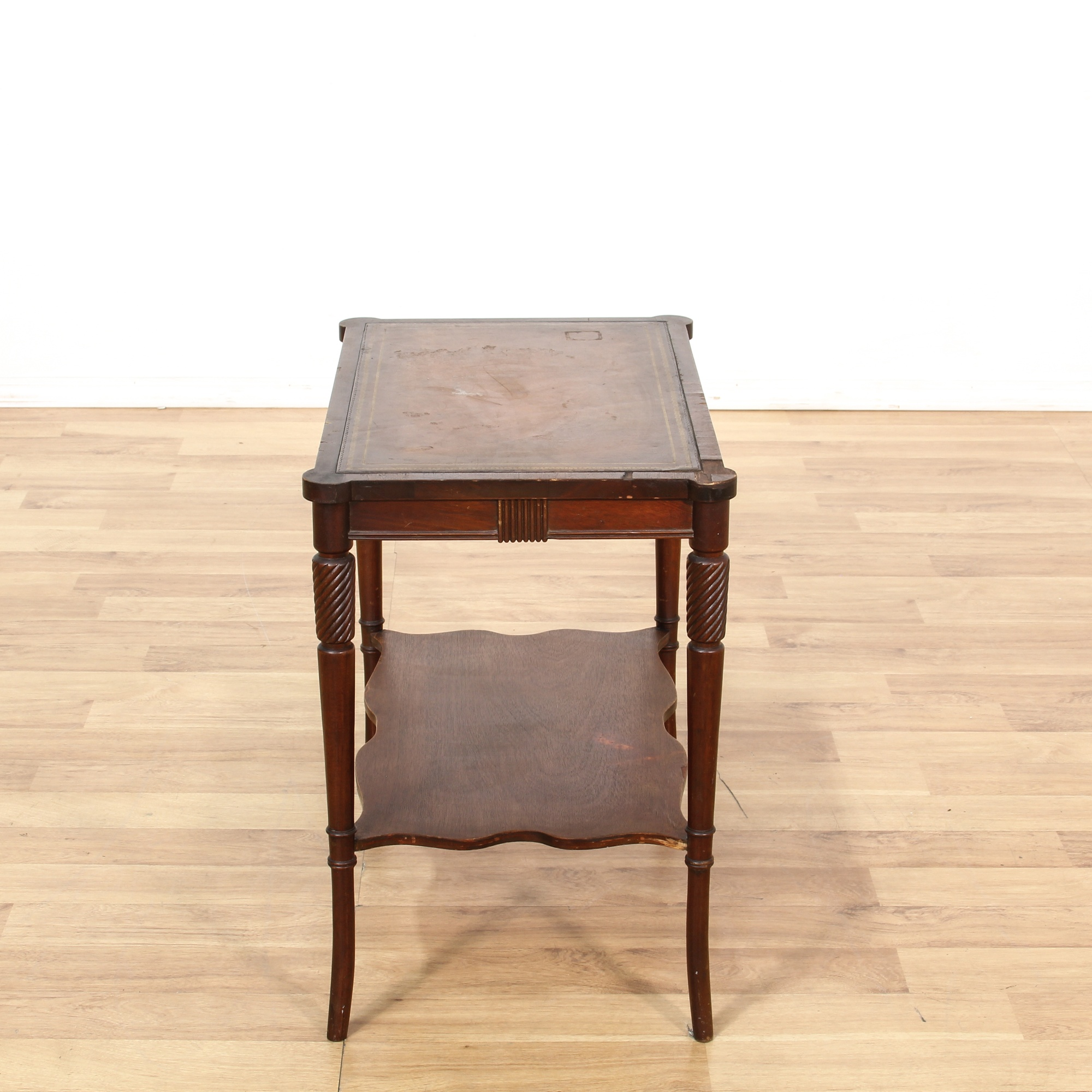 Leather Top 2 Tier Coffee Table