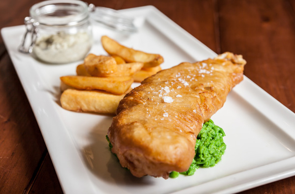 Day boat-caught fish and chips with crushed peas and homemade tartare sauce