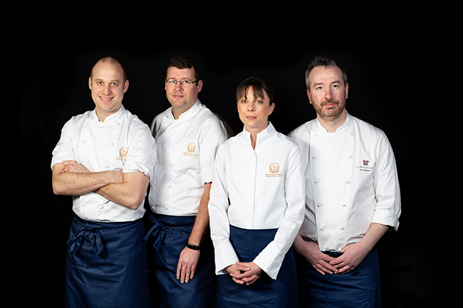 Stefan Rose, pastry chef; Craig Atchinson, head chef, Fletchers; Lucy Hyder, banqueting chef; and Ben Iley, head chef, Restaurant EightyEight
